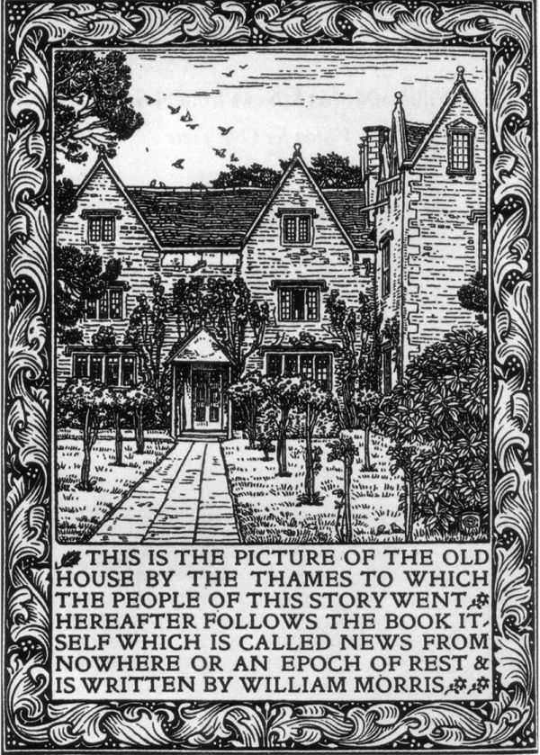 The Arts and Crafts movement: frontispiece to William Morris's News from Nowhere, designed by Charles March Gere in 1893.