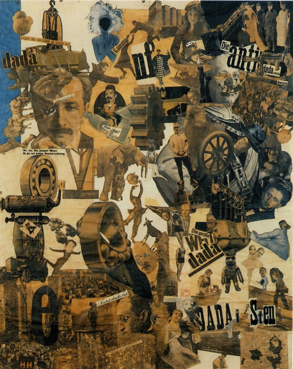 An example of Dadaist photomontage. Hannah Höch, Cut with the Kitchen Knife through the Last Weimar Beer-Belly Cultural Epoch in Germany. 1919-1920
