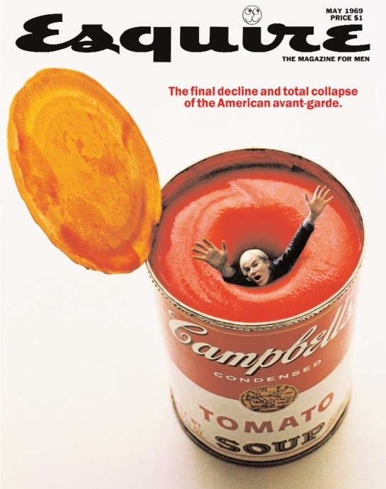 An example of 'Pop Surrealism,' Andy Warhol on the cover of Esquire, 1969.